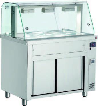 WAG 3Speiseausgabe warm mit geschlossenem Glasaufbau 3 x 1/1 GN